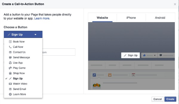 Facebook Page Create Call to Action Button