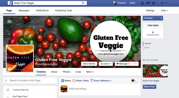 Gluten Free Veggie Facebook Page with Cover Photo